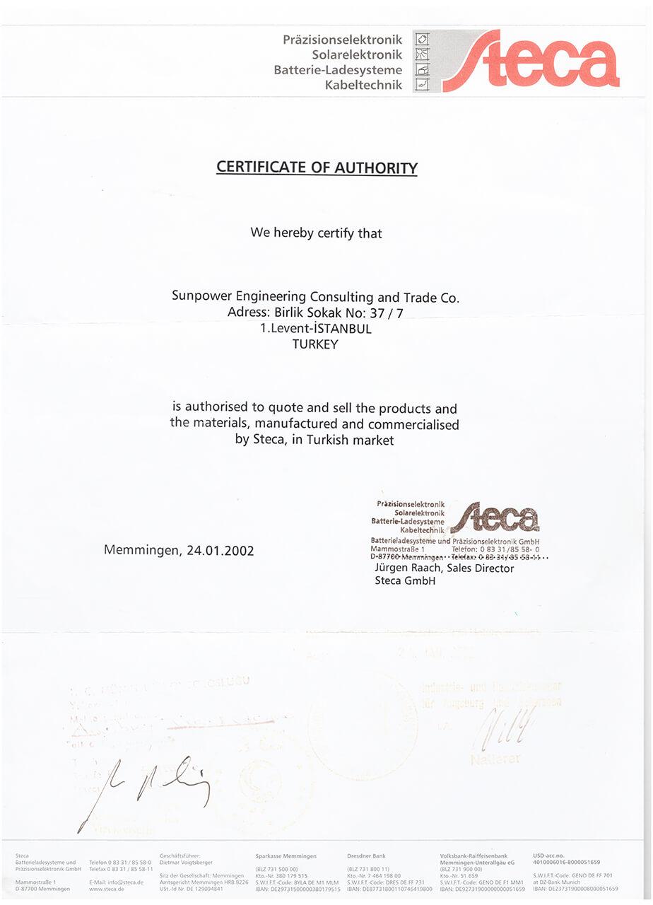 Authorization documents sun power turkey sma temsilcilik steca temsilcilik xflitez Gallery